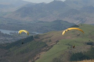 Blencathra Paragliding Looking To Derwent Water